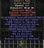 East NON Ladder Arreat's Face Guardian Crown (Upgraded) - Ethereal - 6% LL & 756 Defense - Perfect