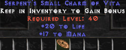 <center><b>West Non-Ladder</b><br>10x Pack of  20 Life / 17 Mana Small Charm