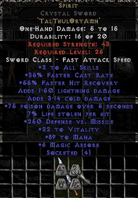 <center><b>West Non-Ladder</b><br>Spirit Crystal Sword - 35% FCR