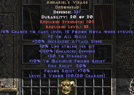 <center><b>East Non-Ladder</b><br>Andariel's Visage 10% LL & 30 Str % 150 ed - Perfect