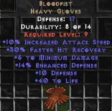 East NON Ladder Bloodfist Vampirebone Gloves (Upgraded) - 88 Defense - Perfect
