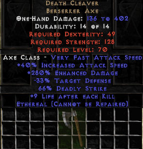 <center><b>East Non-Ladder</b><br>Death Cleaver - Ethereal - 280% ED & 9 LAK - Perfect