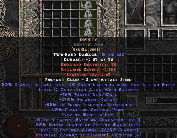 <center><b>Europe Ladder</b><br>Infinity Cryptic Axe (Ethereal) 255-309% ED & -55% ELR</center>