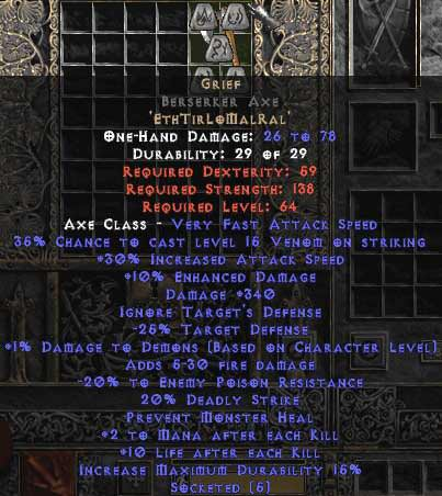 <center><b>Europe Ladder</b><br>Grief Berserker Axe,  0-14 ed UNMADE</center>