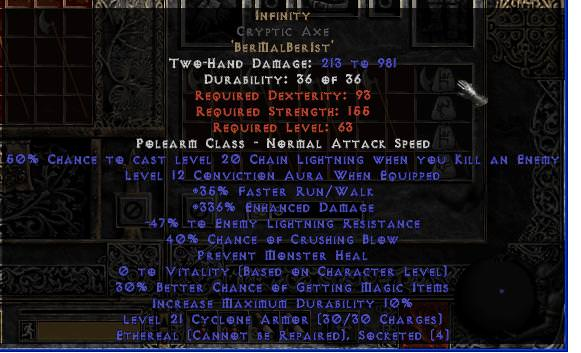 <center><b>Europe Ladder</b><br>Infinity Cryptic Axe (Ethereal) - 301-339% ED</center>