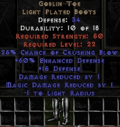 <center><b>East Ladder</b><br>Goblin Toe Mirrored Boots (Upgraded) - 123 Defense - Perfect