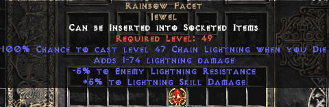 <center><b>East Non-Ladder</b><br>Rainbow Facet +5/-5 Light - Die