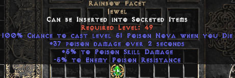 <center><b>East Non-Ladder</b><br>Rainbow Facet +5/-5 Poison - Die
