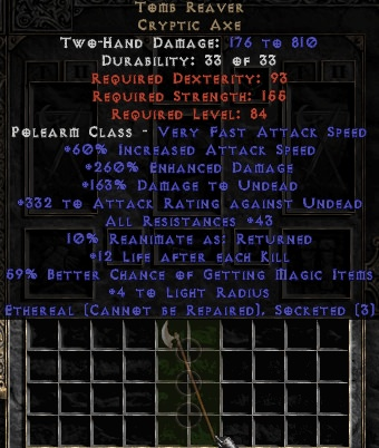 <center><b>East Non-Ladder</b><br>Tomb Reaver (Ethereal) 3 sockets