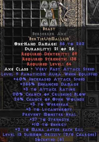 <center><b>HC Europe Ladder</b><br>Unmade Beast Berserker Axe</center>