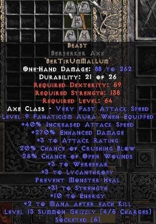 <center><b>Europe Ladder</b><br> Beast Berserker Axe 0-14ed Unmade</center>